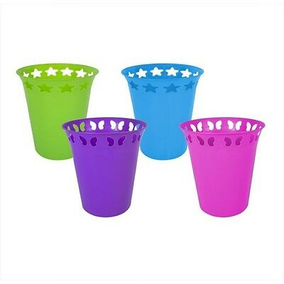 Funky Bright Plastic Waste Paper Bin with Cut-Out Star and Butterfly Designs New