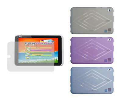 TPU Gel Skin Cover Case and Screen Protector for Acer Iconia W3-810 Tablet
