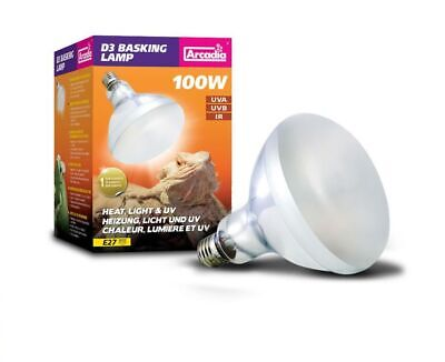 Arcadia D3 Basking Lamp 100W E27 Reptile Bulb Heat Light Uv Uva Uvb Ir Infrared