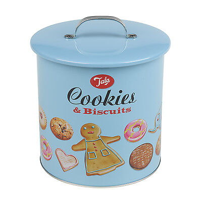 Tala Retro 1960's Style Biscuits Design Biscuit Barrel Tin Canister Cookie Jar