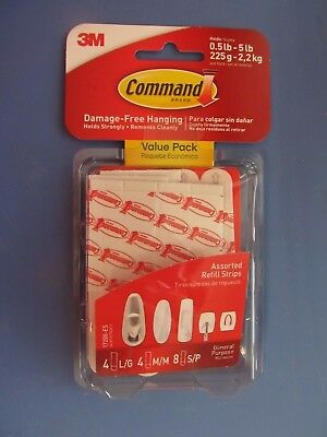 3M Command Adhesive Replacement Strips 8 Small 4 Medium 4 Large #17200   NEW