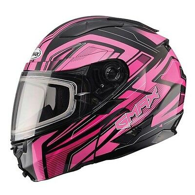 Pink Helmet Modular Vortex Snow Full Snowmobile Inner Flip Lens Led Gmax Gm64S