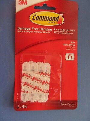 3M Command 12 Mini Clip Replacement Adhesive Strips #17020   NEW