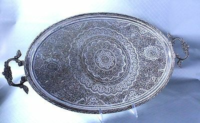 Antique Persian Silver Platter Tray Large Fully Hallmarked