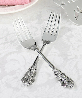 Personalized Bride and Groom Silver Plated Fork Set Wedding Reception Gift
