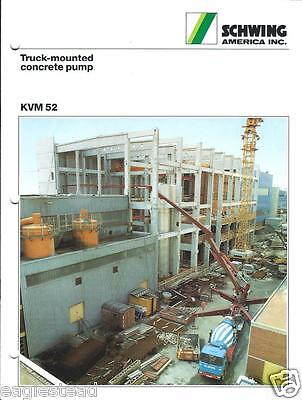 Equipment Brochure - Schwing - KVM 52 - Truck-Mounted Concrete Pump 1987 (E2559)