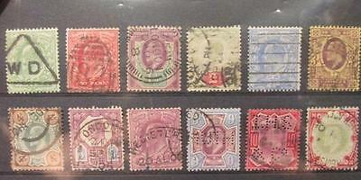 Great Britain Complete Set of Scott's #127-138 Used KEVII 1902-11 Low Values