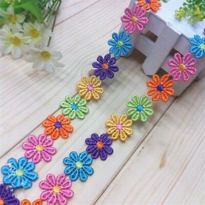 Vintage Colorful Flower Embroidered Lace Trim Ribbon Applique DIY Sewing Craft