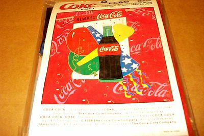 "Coca-Cola 1998  ""bottle Of Coke, Baloons, Streamers"" New Flag"