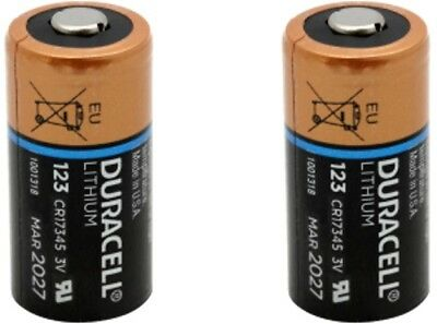 2 Duracell Lithium 3V DL123A CR123A CR 123A 123 Batteries Exp. 2027