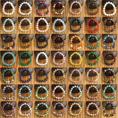 New 100% Natural Stone Round Beads Bracelet Charming Gift  49 Colors Wholesale