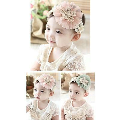 Luxury 1PC Kids Baby Flowers Headband Lace Bow Hair Wear Hairband Ribbon