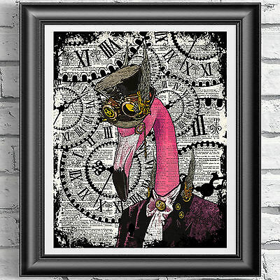 Flamingo Print Vintage Dictionary Page Wall Art Picture Pink Steampunk Animal
