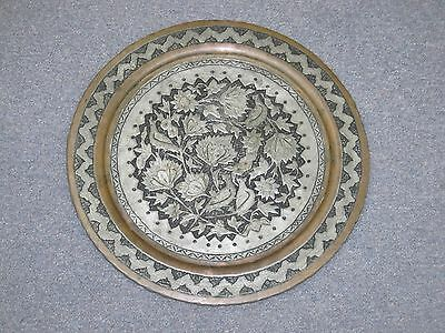"Vintage Copper Hand Etched Persian Tray Engraved Niello 17"" Plate Ghalam Zani"