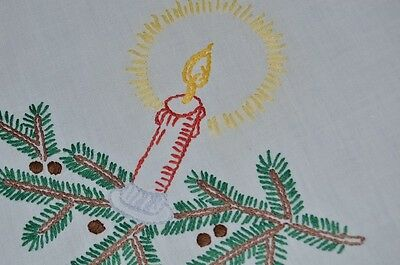 The Glow Of Christmas! Vintage German Hand Embroidered Tablecloth Pinecones