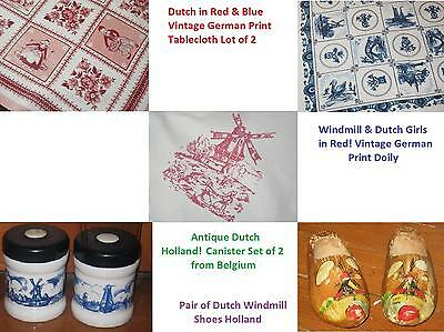 Antique Dutch Glass Kitchen Canister Set Belgium + 2 German Print Tablecloths