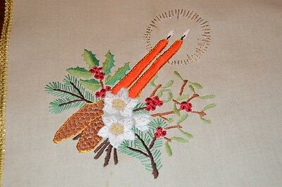 Christmas At Its Brightest & Finest! Vintage German Hand Embroidered Tablecloth