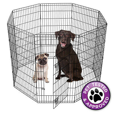 Puppy Dog Playpen Indoor Outdoor Pet Exercise Play Yard Pen Run Black - 5 Sizes