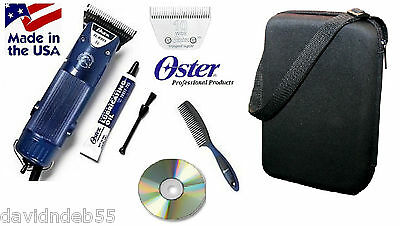 OSTER Turbo A5 2 Speed Clipper&10 WIDE Blade KIT-Case,DVD-Dog,Horse Grooming