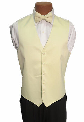 L Mens Pale Lemon Lime Yellow Zelente Wedding Prom Fullback Tuxedo Vest w/ Tie