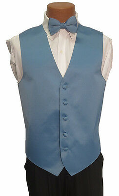 M Mens Light Cornflower Blue Zelente Wedding Prom Fullback Tuxedo Vest w/ Tie