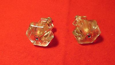 2 Large Antique Glass Cupboard Drawer Knobs