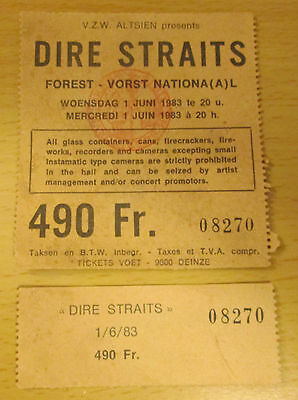 1983 Dire Staits Belgium Concert Ticket Love Over Gold Tour Money For Nothing