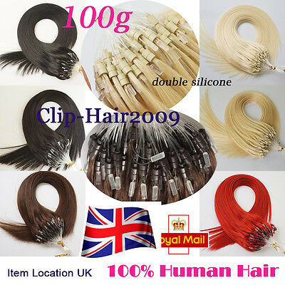 """16""""18""""20"""" Double Drawn Micro Loop Ring beads Human Hair Extensions Natural 1g/s"""