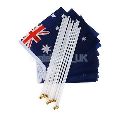12 AUSTRALIA HAND WAVING FLAG Country Small with Stick pole Australian flags