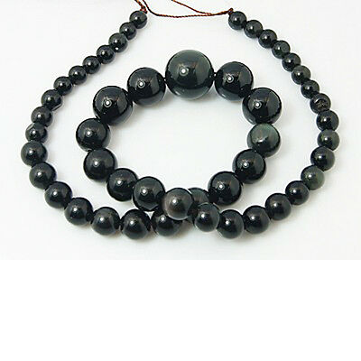 Strand Of 48+ Black Obsidian 6-14mm Plain Graduated Round Beads HA05250