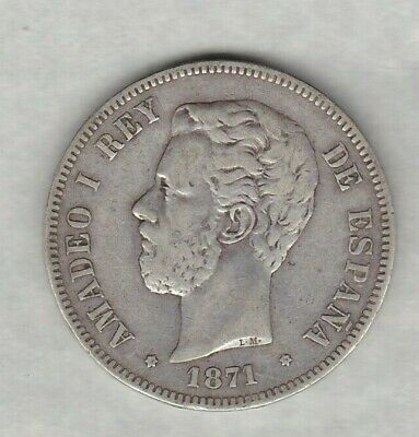 Spain 1871 Dem Silver 5 Pesetas In Good Fine Or Better Condition