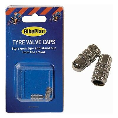 2 x Schrader Small Size Silver Tyre Tire Wheel Dust Valve Caps Car Bike Cycle