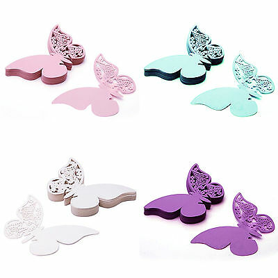 50 pcs Table Mark Wine Glass Cards Favor Butterfly Name Place Party Wedding