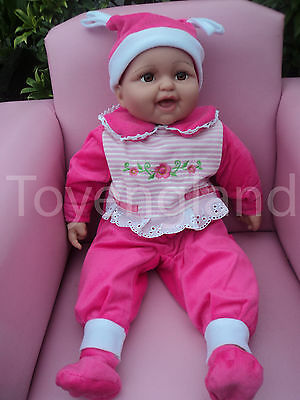 42cm LOVELY LAUGHING DOLL BABY DOLL REAL LIFE LOOKING DRESSED IN BABY GROW