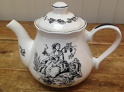 Tabletops Unlimted New England Toile Black Teapot Tea Pot Landscape Flute Picnic