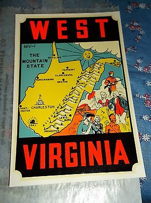 Vintage Dip Decal West Virginia The Mountain State Map  Windshield Luggage