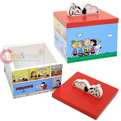 Peanuts Snoopy Wooden Trinket Jewelry Box Charlie Brown with Friends