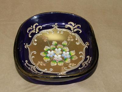 VTG Antq BOHEMIAN MOSER ? Cobalt Blue Glass Trinket Pin Dish Gold Gilt w/ Flower