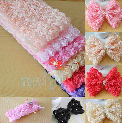1 Yard 6 Row Chiffon Rose Flower Lace Edge Trim Wedding Bridal DIY Sewing Crafts