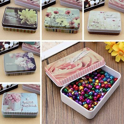 Flower Printed Rectangular Iron Tin Storage Gift Pill Jewelry Boxes Case Holder