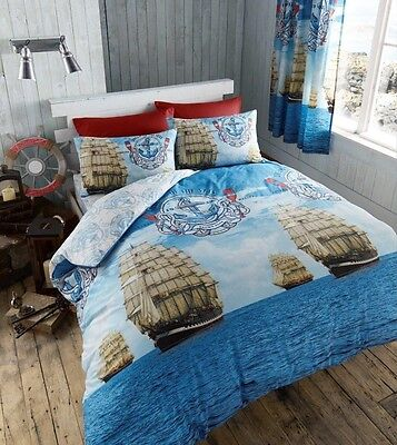 Luxury Sail Boat Super King Duvet Quilt Cover Nautical Ship Anchor Bedding Set