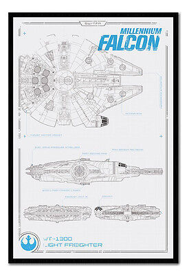 Framed Star Wars Episode 7 Millenium Falcon Plans Poster New