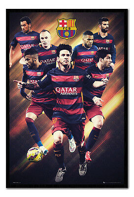 Framed Barcelona Official Players 2015/16 Season Poster New