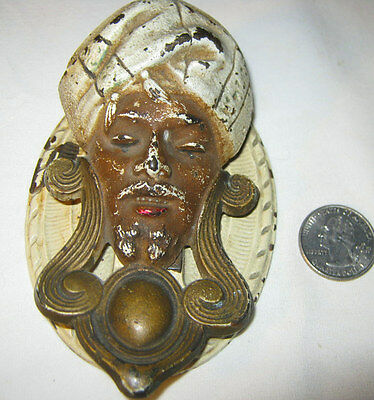 Antique Aladdin Genie Door Knocker Hubley Architectural Door Bell Art Cast Iron