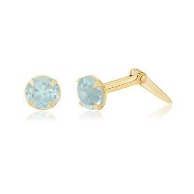 9ct yellow gold 3mm round emerald Andralok stud earrings / Gift box SActC
