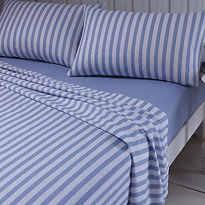 Catherine Lansfield Brushed Stripe Blue Bedding Pillowcase Fitted Flat Sheet Set