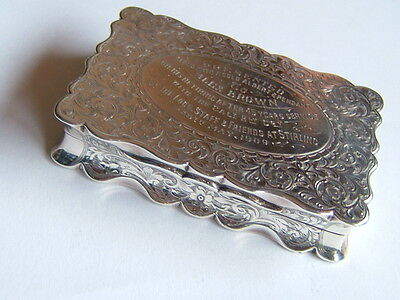 Very Large Antique English Silver Table Snuff Box, Scottish Railway Interest