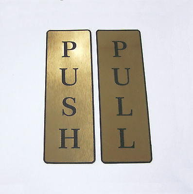 Push and Pull Front Door Sign Laser Engraved Sticker Silver & Gold - Set