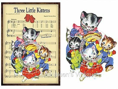 ~Vintage Image Grunge Nursery Three Kitten Lost Mittens Waterslide Decals~ AN685