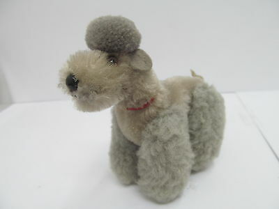 MES-45982 Älterer Steiff Pudel H:ca.10cm,Mohair mit Holzwollstopfung,